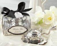 50 unids té para dos tetera de acero inoxidable té infusor cocina favores de la boda colador de té fiesta regalos para invitados envío gratis