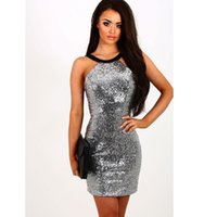 Jumper Pinafore Slim Short Dress Sequins Sparkly Glitter Tight Bandage Bodycon Mini Vestidos Sem mangas Party Club Cocktail Prom Outfit