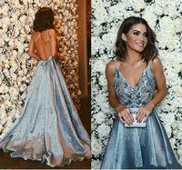 Sexy Backless Dusty Blue Prom Dresses 2019 Spaghetti Vintage Lace mit Perlen A Line Celebrity Kleider Abendkleid Vestido De Soiree