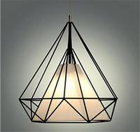 Moderno negro birdcage luces colgantes hierro minimalista luz retro Scandinavian loft pirámide lámpara metal jaula con bombillas led