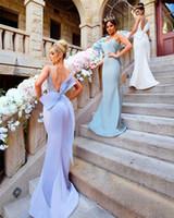 Onur Elbise Big Bow Seksi Spagetti sapanlar Backless Wedding Guest Önlük Dantel Aplikler Saten Maid ile Modest Denizkızı Gelinlik Modelleri