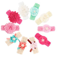 Baby Headbands Flowers Newborn Chiffon Pearl Flower hairband...