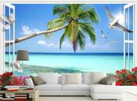 Fuera de la ventana paisaje de la playa de coco pared de la TV 3D mural de papel pintado 3D papeles de pared 3D para TV telón de fondo