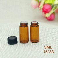오리피스 감속기 검은 모자와 호박 유리 빈 병 3ml를 도매 미국 영국 작은 유리 유리 병 샘플 스포이드 병