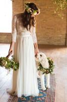 Длинные рукава BOHO кружева богемные свадебные платья арабские мусульманские свадебные платья кнопки назад романтические полные кружевные топ плюс размер свадебных платьев
