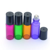 Colorful 5ml ROLL ON GLASS ESSENTIAL OIL BOTTLE Perfume stai...
