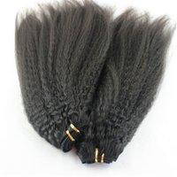 Pelo humano rizado no procesado recto 3 paquetes Extensiones rizadas gruesas brasileñas gruesas brasileñas del pelo humano de la armadura del pelo
