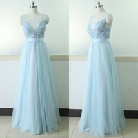 Light Sky Blue 2017 Wedding Guest Sexy Gowns Real Picture Pl...