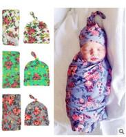 Manta de bebé apoyos de la fotografía abrigo de flores Swaddle Beanie Outfits Tramo de abrigo suaves toallas de cama Sleep Sacks Bufandas Baby Photo Props J383