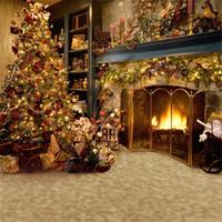 Chimenea interior fotografía telones de fondo árbol de Navidad decorado regalos familiares niños niños estudio de vacaciones sesión de fotos fondo tela de vinilo