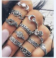 Bohemia слон вырезанные MIDI Knuckle кольцо набор женщин этнические античные серебряные цветные цветные лунные кольца Boho пляж шарм кольца