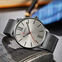Curren 8238 simples homens relógio de quartzo moda malha de prata de ouro preto de aço inoxidável banda relogio esporte masculino relógios de pulso