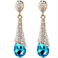 Мода корейский синий красный кристалл Rhinestone Waterdrop сердце для новобрачных Стад мотаться люстра серьги для свадьбы обручальное дешевые цена