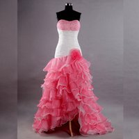Hot Pink White Organza Hoge Low Prom Dress Strapless Crystal Beaded Ruches Gelaagde Rok Special DailN Avond Party Jurken Evenement Town
