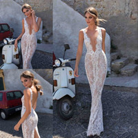 2018 Berta Bohemian Backless Wedding Dresses Sheath Deep V Neck Lace Bridal Gowns Appliqued Свадебное платье Vestido De Novia