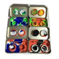 Силиконовый комплект с металлической жестяной коробкой 2 шт. 5 мл силиконовые контейнеры Dab банки воск Dab коврик и Dabber набор инструментов