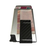 2016 nuevo diseño Extrem Slim billetera RFID de Aluminio Bloqueo Minimalista Billetera de fibra de carbono Money Clip pop-up tarjetas