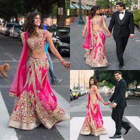 2K17 abiti da sera indiano due pezzi con applique oro caldo abiti da ballo rosa tulle su misura abiti da partito formale vintage sexy 2017