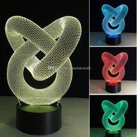 7 CAMBIO DE COLOR CAMBIO 3D ACRYLIC Illusion Touch Switch Lamp LED Luz de noche Novelty E00652 Fash