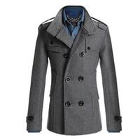 Atacado-Trench Coat Men clássico Double Breasted Masculino Trench Coat de roupas casacos longos casacos estilo britânico casaco 3XL Plus Size 2