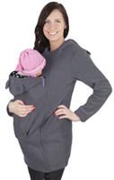 Mamma donna Autunno Baby Carrier Felpa con cappuccio Zip Up Maternity Kangaroo Felpa con cappuccio Pullover 2 In 1 Marsupi 4 colori