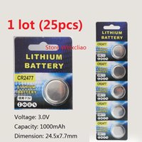 25 шт. 1 лот CR2477 3 В литий-ионная батарея кнопки литий-ионный CR 2477 3 Вольт монета батареи Бесплатная Доставка