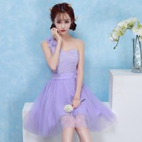 Free Shipping A- line Short Mini Lace Tulle Sleeveless One Sh...