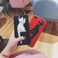 Cartoon Cat Case Relieve carcasa de la contraportada para iPhone X 8 7 Plus 6 6S 5S