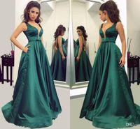 2018 элегантный темно-зеленый линия вечерние платья V шеи длинные платья выпускного вечера с карманами простой Атлас вечерние платья для женщин