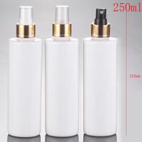 (30 adet) 250 ml boş beyaz sprey şişesi altın anodize alüminyum sprey şişesi 250cc kozmetik parfüm ambalaj şişesi