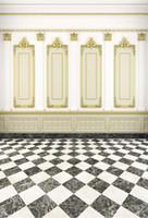 Luxo Indoor Photographic Fundos Digital Impresso Molduras de Ouro Branco Parede Cenários de Fotografia de Casamento Preto e Branco Chão