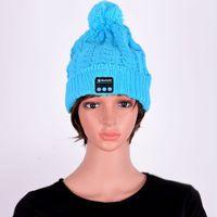 Al por mayor-Mujeres Bluetooth Cap Warm Beanie Hat Wireless Smart Cap Auriculares Auriculares Altavoz Mic