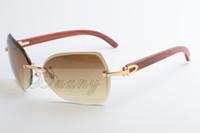 Nuova moda in legno naturale di alta qualità, lente smussata, occhiali da sole 8300818 Dimensioni: 60-18-135 mm
