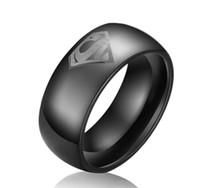슈퍼 맨 기호 새겨진 돔 블랙 텅스텐 반지 wholesales 8 mm 텅스텐 카바 이드 밴드