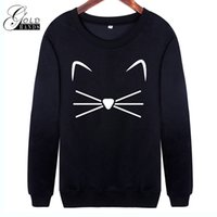 Cartoon Cat Print Sweatshirt para Mujeres de manga larga Casual Women Pullovers Negro O-Neck Pretty Cute Sweatshirt Mujeres Envío gratuito