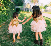 Lovely gold sequins top flower girls dresses with bows backl...