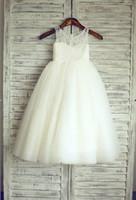 Nouvelle arrivée robes fille fleur vraie fête Pageant robe pour le mariage blanc / ivoire petites filles / Enfants / enfants Robe Communion