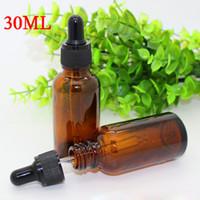 Heißer Verkauf 10 ml 15 ml 20 ml 30 ml E-Liquid Flasche 1 UNZE Ätherisches Öl Braunglas Tropfflasche mit schwarzem kindersicheren Deckel Glasflaschen