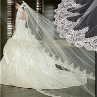 Véus De Noiva Elegante com Trem Da Catedral Appliqued Borda 3 M Branco / Marfim Acessórios Do Casamento Longo De Noiva Véu De Noiva Mantilla