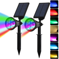 Edison2011 7 LED Auto Color-Changing Solar Spotlight Iluminación exterior Solar Powered Security Landscape Luz de pared para jardín al aire libre