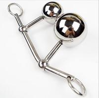 En acier inoxydable crochet creux boule anal avec anneau de coq hommes sexe anal Plug dispositif de chasteté balles doubles outils de coiffage jouets bout à bout