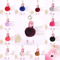 Flamingo Fur Ball Keychain Women Fur Bag Pendant PU Leather ...