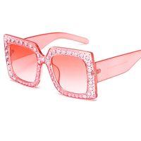nouveau mode strass Lunettes de soleil Mesdames surdimensionné Lunettes de soleil monture carrée pour les femmes New Shades Oculos de UV400 Y199