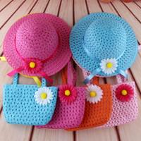 2017 nuove vendite calde ragazze fiore cappelli di paglia neonata spiaggia cappelli da sole per bambini estate moda protezione cappello carino per bambini cappello 10 pz / lotto