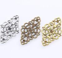 100 teile / los Antike Silber Hohl Filigrane Blume Stecker charme anhänger für DIY Armband Schmuck Machen 41x24mm