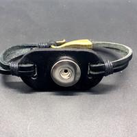 Новый дизайн черный коричневый имбирь Оснастки натуральная кожа браслет мода Оснастки ювелирные изделия для женщин Fit Noosa 18 мм Оснастки кнопки
