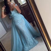 New Designed Sky Blue Lace Appliques Long Mermaid Prom Dress...