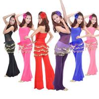Wholesale  - ベリーダンスダンスヒップスカートキャンディーカラースカーフラップシフォン3層シルバーコインウエストベルト用女性ダンサーホット