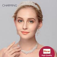 Корона и серьги и ожерелье Набор из 3 штук Swarovski Tiaras Bridal Pearl Crown Свадебные аксессуары Свечае