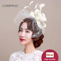 Свадебные головные уборы завесами дизайнерские Британские свадебные шляпы сетки и производство перо материал Элегантные головные уборы для свадьбы